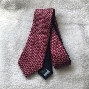 Tommy Hilfiger-Red Silk Tie w/Small Square Pattern